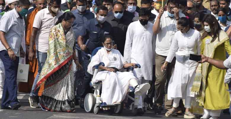 Mamata banerjee on wheelchair