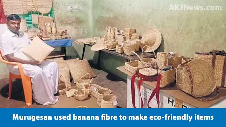Murugeshan-made-rope-with-banana-fibre